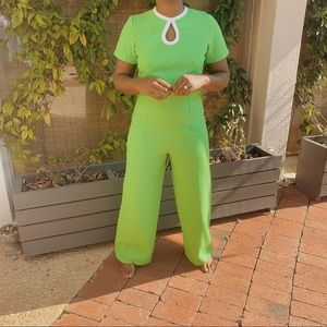 Vintage Women's 70's Slime Green Jumpsuit